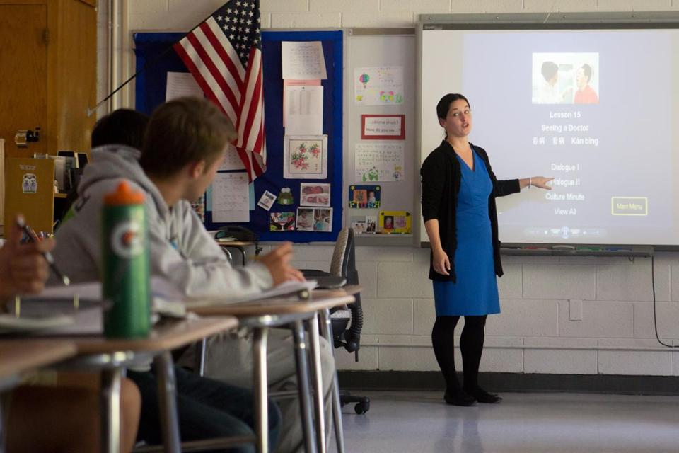 Hingham High's Jessica Pollard led a class in Mandarin Chinese, which is taught in about three dozen school districts in Massachusetts.