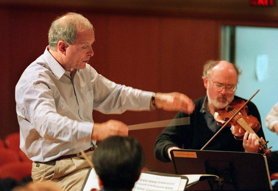 Newton,MA- 10/15/96- Christopher Hogwood conducts members of the Handel & Haydn Society.