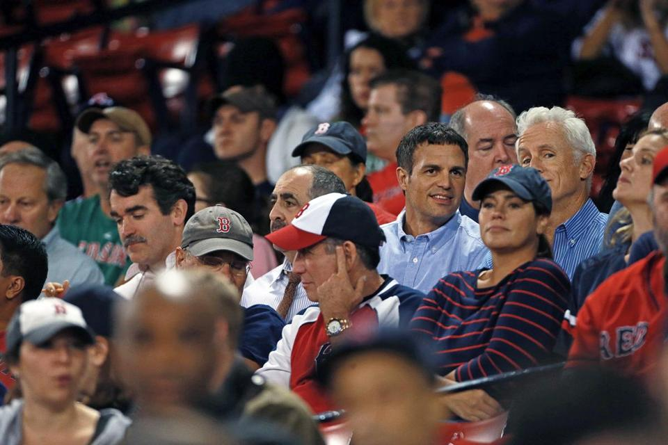 "From far left: former Globe editor Ben Bradlee Jr. and actors Brian d'Arcy James, Gene Amoroso, Mark Ruffalo, and John Slattery at Fenway Park Thursday night for ""Spotlight"" filming."