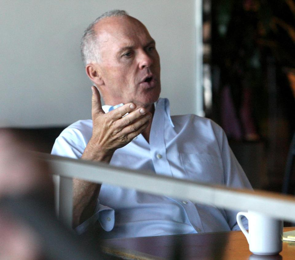 "Michael Keaton during filming of the movie ""Spotlight"" in the Boston Globe's cafeteria in 2014."