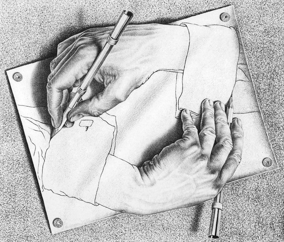 5.0.3 03Escher Currier Museum of Art's exhibition M.C. Escher: Reality and Illusion on view September 20, 2014 - January 5, 2015. 2. M.C. Escher, Drawing Hands, 1948, lithograph © 2014 The M.C. Escher Company- The Netherlands. All rights reserved. www.mcescher.com Currier Museum of Art, drawing, hands, M.C. Escher: Reality and Illusion, Manchester, Museum, New Hampshire, NH.