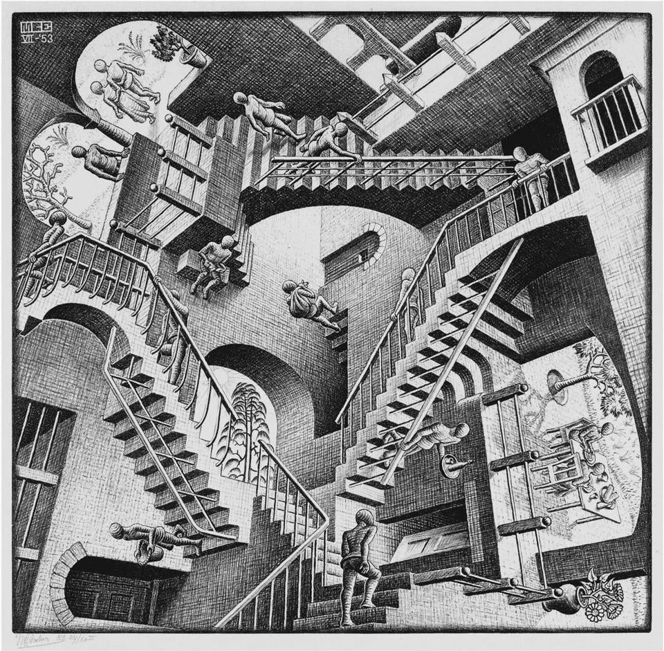 "Works in ""M.C. Escher: Reality and Illusion"" include (clockwise, from opposite page) ""Relativity,"" ""Air,"" ""Circle Limit IV (Heaven and Hell),"" and ""Drawing Hands."""