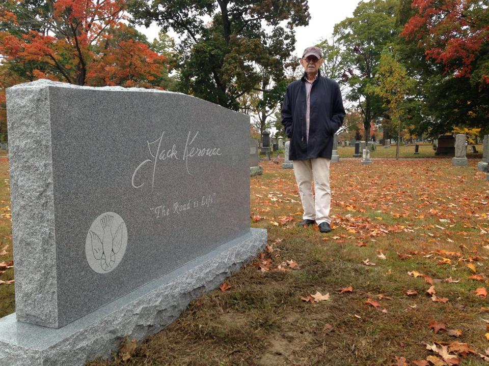 John Sampas, Kerouac's literary executor and brother-in-law, stood by the new monument.
