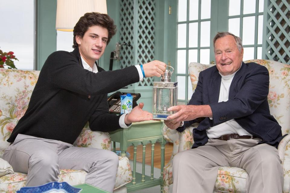Jack Schlossberg presented the Profile in Courage Award to George H. W. Bush in Kennebunkport, Maine.