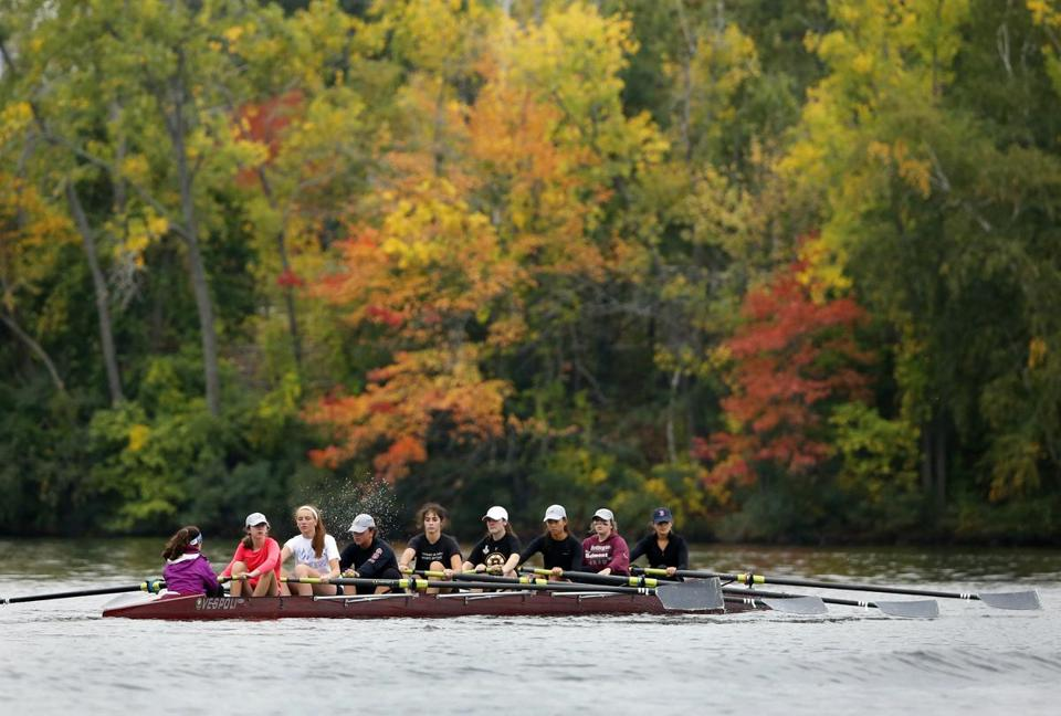 Arlington-Belmont girls crew team during practice.
