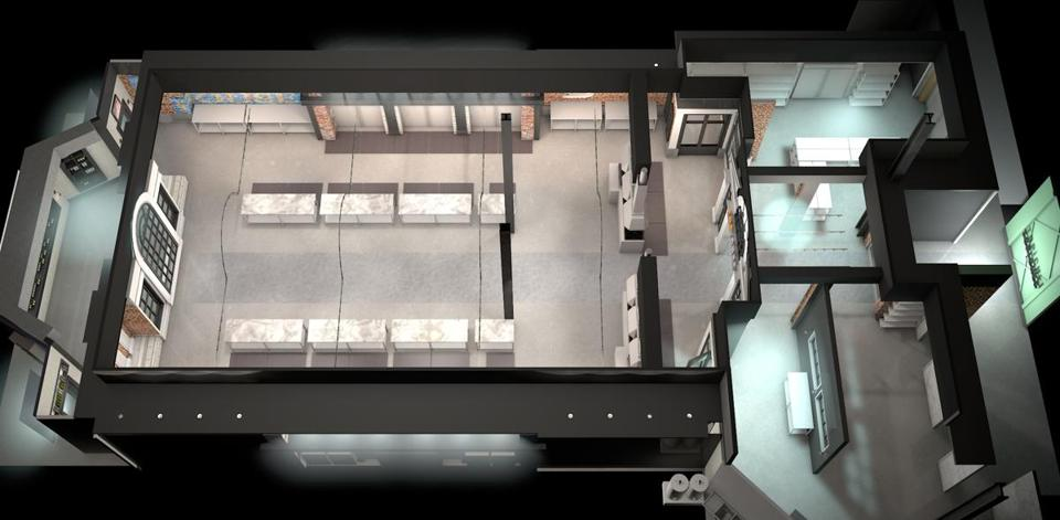 A computer rendering of the Top Chef Kitchen used in season 12.