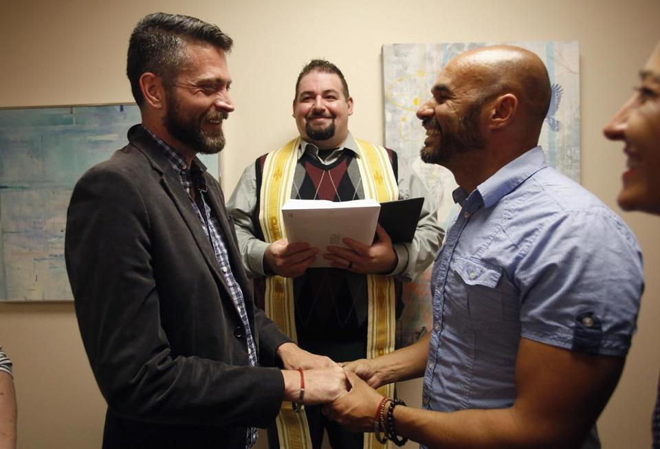 Jim Derrick and Alfie Travassos were married by Rev. Justin Lopez at the Salt Lake County Government Complex in Salt Lake City, Utah.