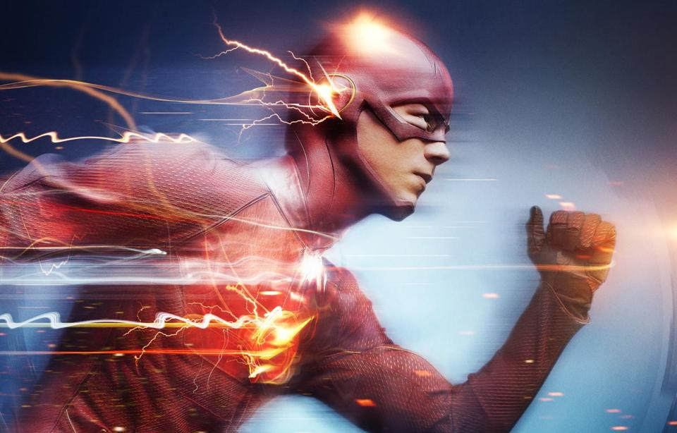 "Above: Grant Gustin as the title hero in The CW series ""The Flash."""