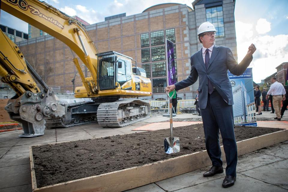 10/08/2014 BOSTON, MA Natixis CEO John Hailer (cq) prepared for the official groundbreaking for Natixis Global Asset Management's (cq) new building at 888 Boylston Street (cq) in Boston. (Aram Boghosian for The Boston Globe)