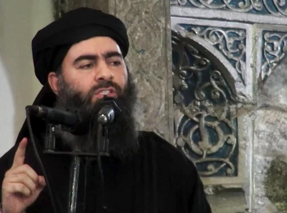 "The leader of ""Daesh,"" Abu Bakr al-Baghdadi, speaks at a mosque in this undated screen grab."