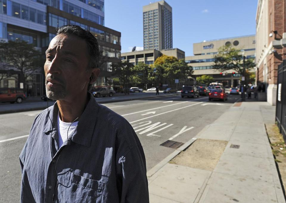 Elvis Perez said he was turned away Wednesday when he sought to catch the bus to Long Island.