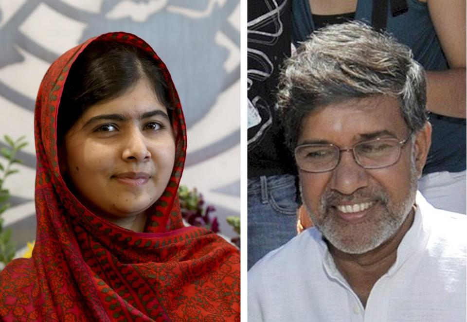 Malala Yousafzai (left) and Kailash Satyarthi were joint recipients of the 2014 Nobel Peace Prize.