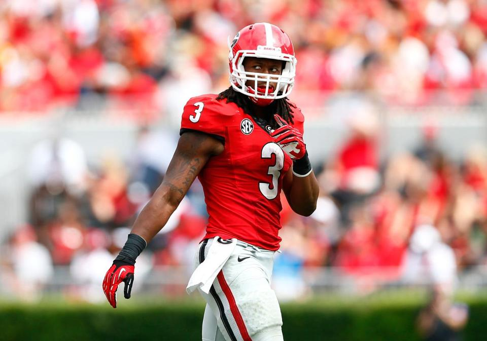08b782aa9 Todd Gurley of the Georgia Bulldogs walked off the field between downs  against the Tennessee Volunteers