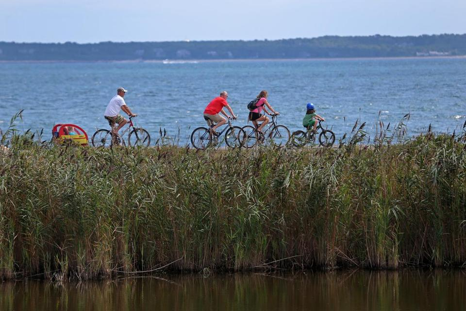 Bike riders took advantage of the beautiful weather in Falmouth over the summer.