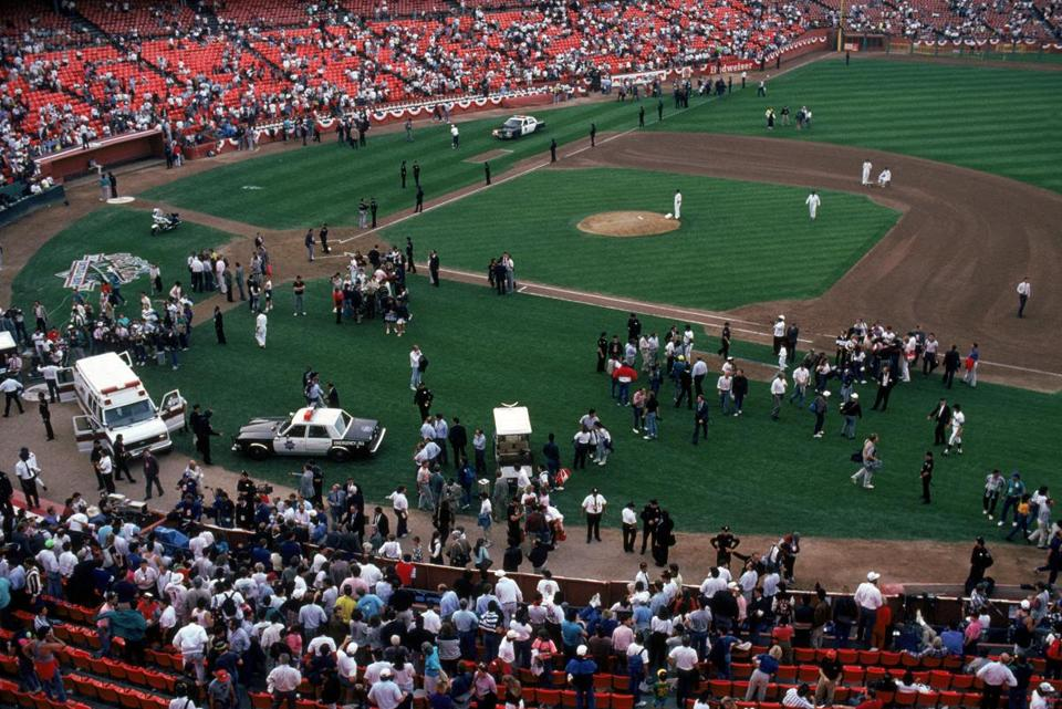 san francisco october 17 general view of the crowds in candlestick park after an