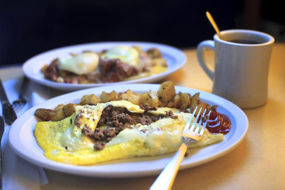 "10/12/14 - Gardner, MA - This is the ""Webbo Omelette"" at the Blue Moon Diner in Garnder, MA. Dina Rudick/Globe Staff."