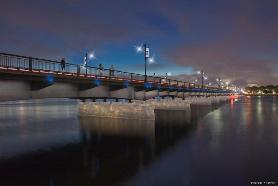 An architectural rendering depicts the Harvard Bridge as it will appear after new lighting, paid for by an anonymous donor, is installed.