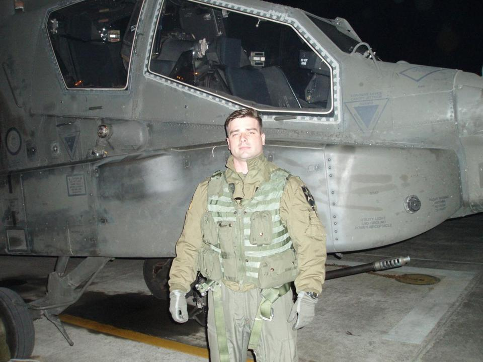 Brian Mucci, pilot and veteran of Army tours abroad, is back near home with his restaurant, Bradford Block Bistro, in Sanford, which he runs with his wife, Amanda.