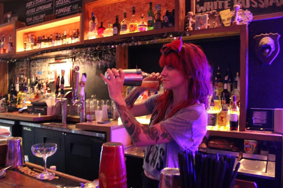 Bartender Mickie Nepinsky livens up the atmosphere at The Bends.