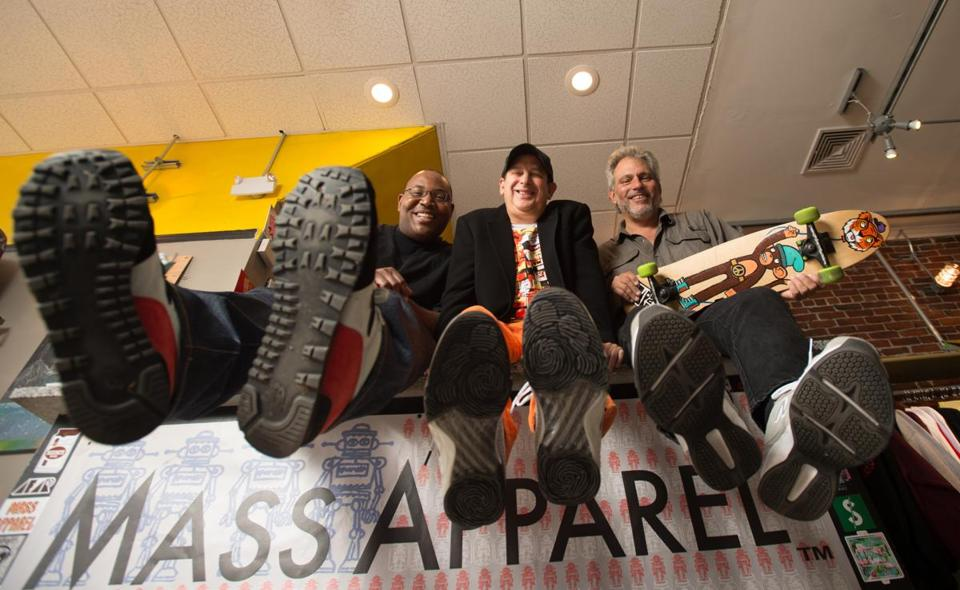 From left: Dee Wells, Rick Kosow, and Peter Gold are the organizers of Boston Sneaker Jam, billed as the largest sneakerhead convention in New England.