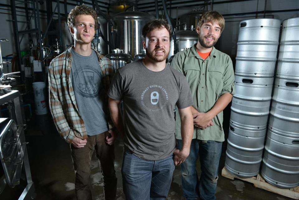 Above (from left): Aeronaut Brewery cofounders Dan Rassi, Ronn Friedlander, and Ben Holmes. Left: Jay Henderson (far left) and Nathaniel Reynolds, cofounders of Something GUD.