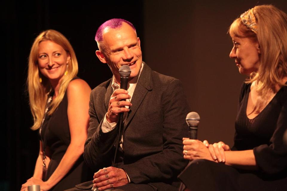 "Red Hot Chili Peppers bassist Flea with ""Low Down"" production supervisor Amy Green (left) and film co-writer Amy Albany."
