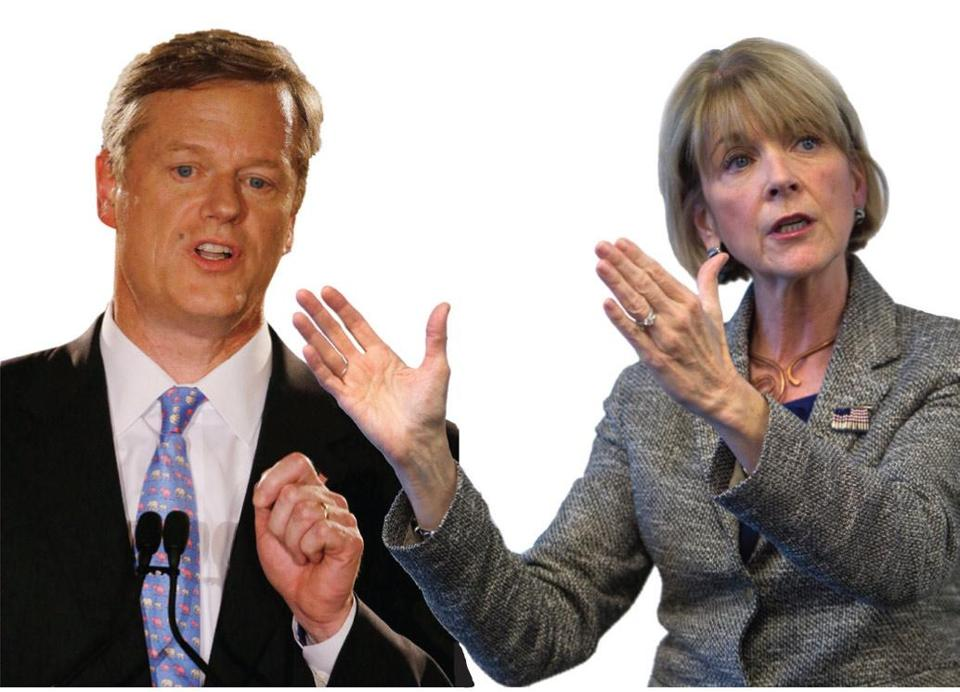 While Charlie Baker's aides tell him to tone down his gestures, Martha Coakley says she doesn't think about it.