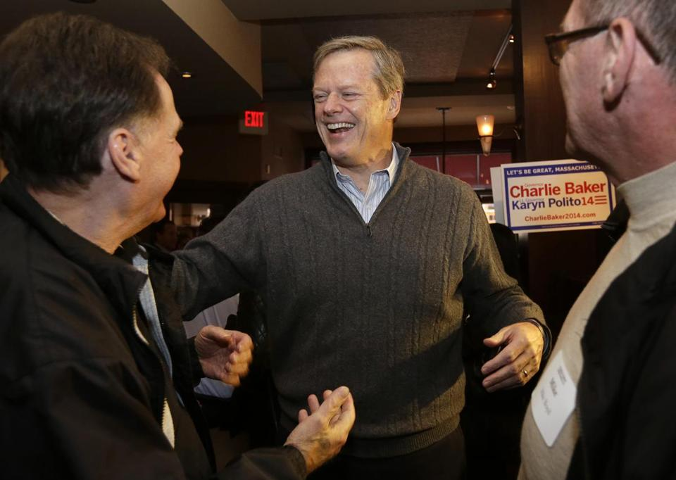 Charlie Baker greeted supporters during a fundraiser in the North End on Sunday.