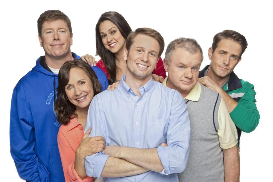 Ronny (Tyler Ritter, center) is the only person in the family who isn\'t crazy about sports while everyone else including from left to right: Marjorie (Laurie Metcalf), Sean (Jimmy Dunn), Jackie (Kelen Coleman), Arthur (Jack McGee) and Gerard (Joey McIntyre) are obsessed, on THE McCARTHYS premiering Thursday, Oct. 30 (9:30 ET/PT) on the CBS Television Network. Photo: Monty Brinton/CBS Ì?å©2014 CBS Broadcasting, Inc. All Rights Reserved. 21mccarthys