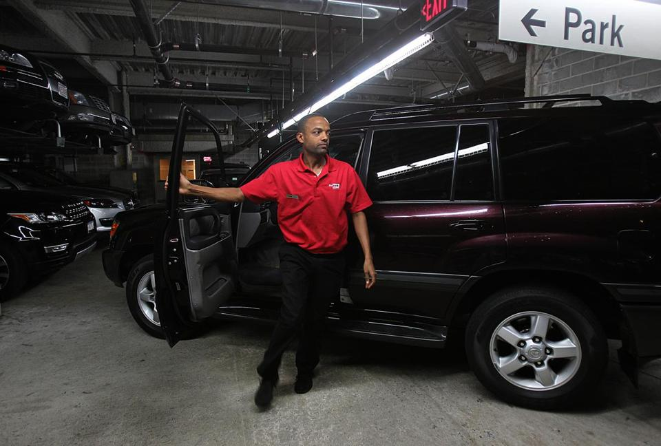 Parking attendant Michaele Gebremariam brought a car into the garage at the Fairmont Battery Wharf Hotel, where workers have organized with Teamsters Local 25. Nationwide, the union has organized about 20,000 parking attendants