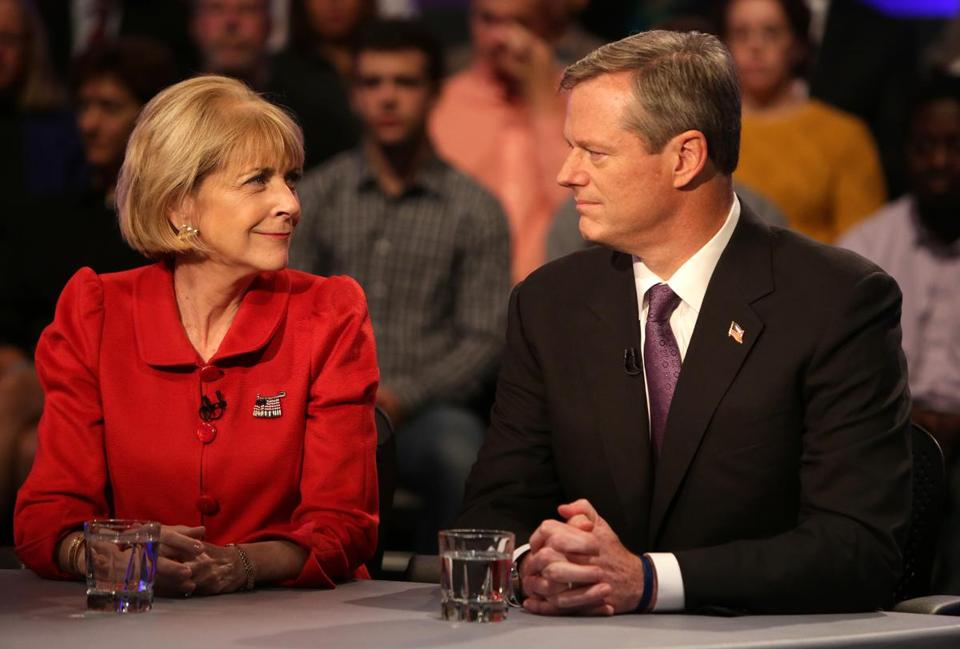Martha Coakley and Charlie Baker worked to avoid awkward moments.