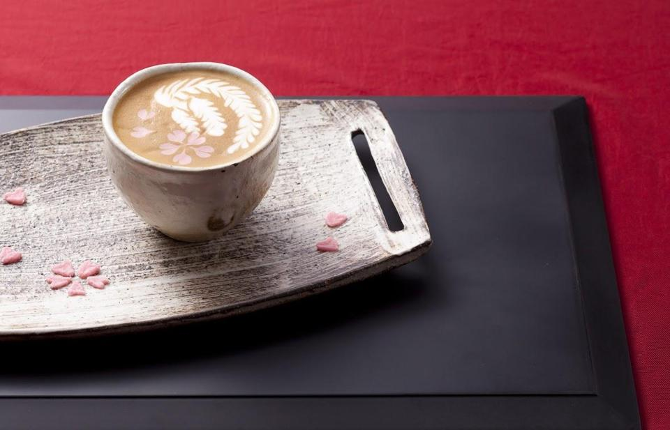 Haruna Murayama's winning design at the World Latte Art Championships in 2010. Murayama will oversee the coffee menu at Ogawa Coffee's first US location in downtown Boston.