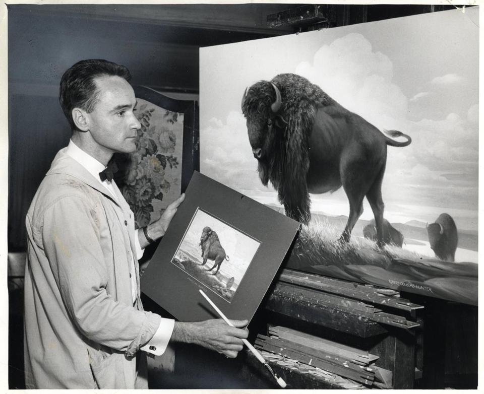 Artist Robert Douglas Hunter, who was trained in the Boston School tradition, worked on a project in January 1961.