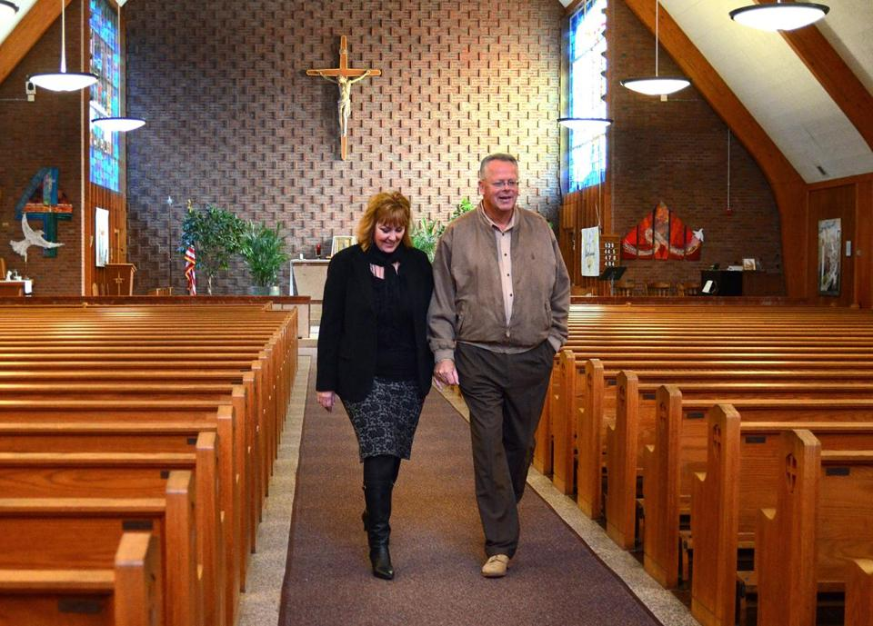 Maryellen and Jon Rogers walked through the church.