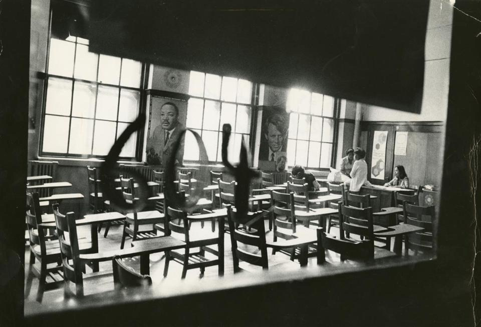 Room 604 at what was then Roxbury High School. The classroom was nearly empty as only three out of 29 students showed up for the first day of school under the busing system.