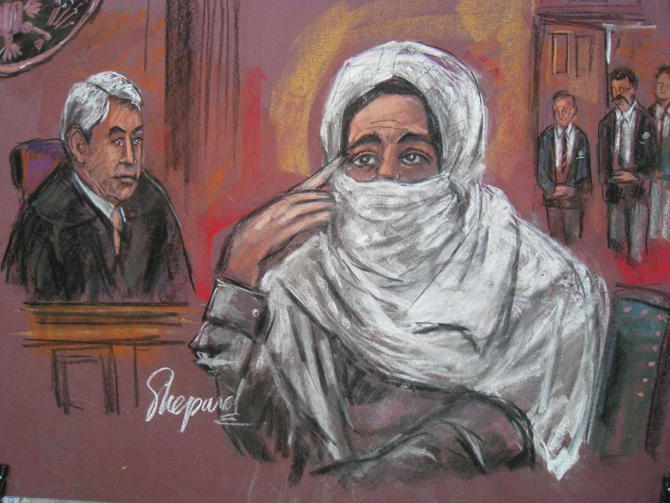 Aafia Siddiqui at her 2010 federal court trial in New York. She was sentenced to 86 years in prison for attempted murder of US officers in Afghanistan.