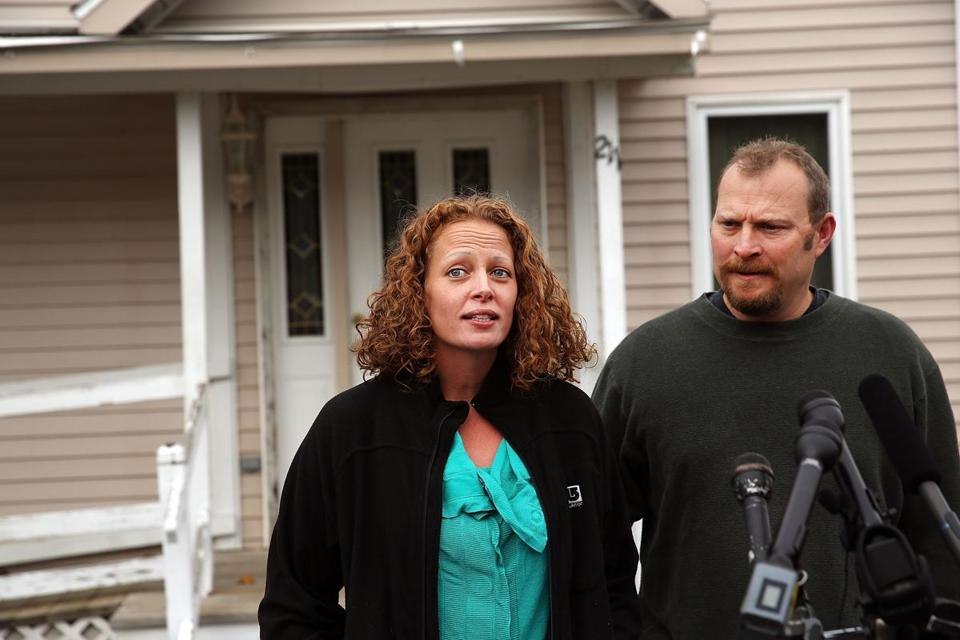 Nurse Kaci Hickox addressed the media outside of her home on Friday.