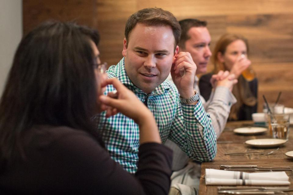 Scott Fay talked with Janice Kaguyutan during a lunch with former staffers of Senator Ted Kennedy, at Nopa Restaurant in Washington, on Sept. 26.