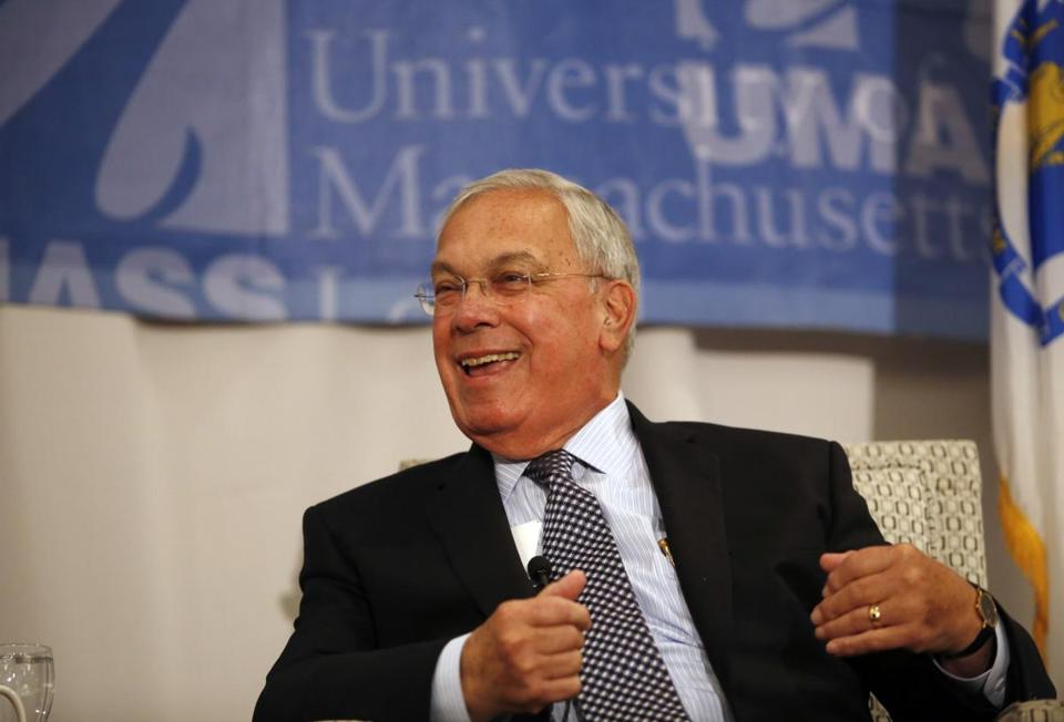 Tom Menino laughed as he spoke at UMass Lowell last year as part of the university's Lunchtime Lecture Series.