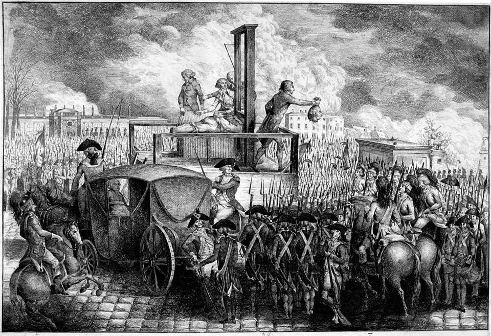 An engraving showing the execution of Louis XVI in 1793, with the king's head being displayed to the crowd.