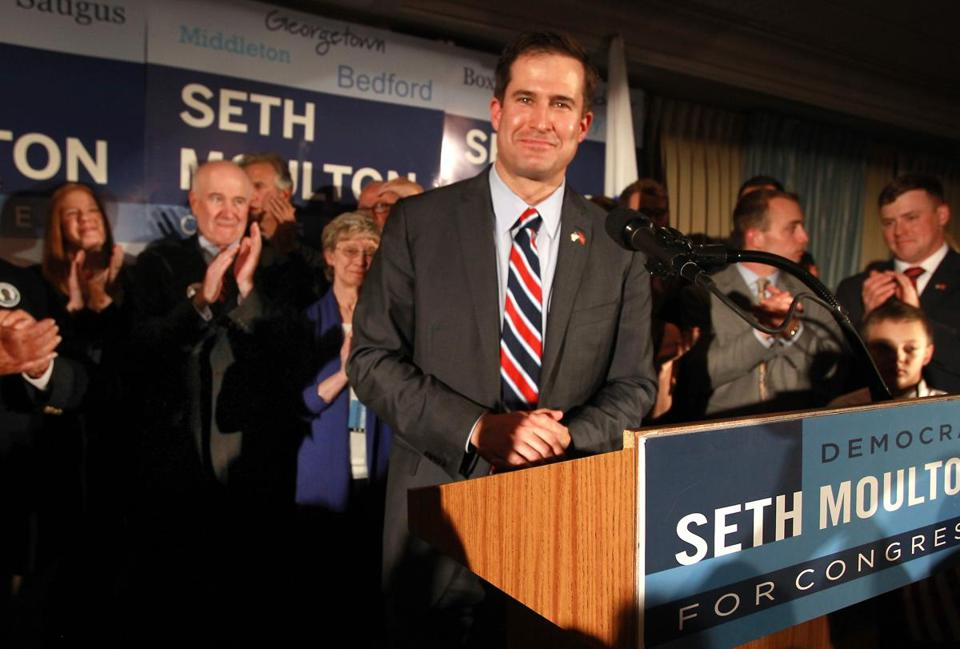 Seth Moulton spoke at his victory party at a hotel in Salem.