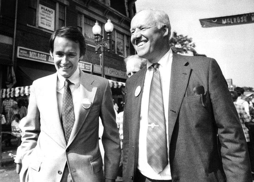 John Winthrop Sears (right) exchanged greetings in 1982 with Edward Markey, now a US senator, while campaigning for governor in Melrose. Mr. Sears lost to Michael S. Dukakis.
