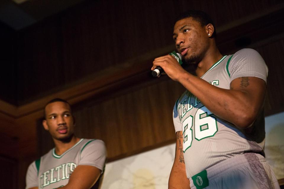 "9258533820e Avery Bradley (left) and Marcus Smart modeled the Celtics  new ""Parquet  Pride"