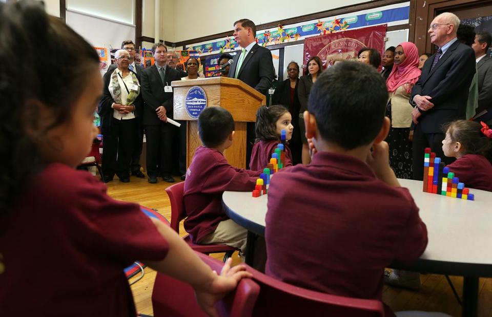 Mayor Martin J. Walsh announced his plan for the citywide expansion of prekindergarten last May at the Patrick J. Kennedy School in East Boston. The plan would afford a seat for all of Boston's 4-year-olds.