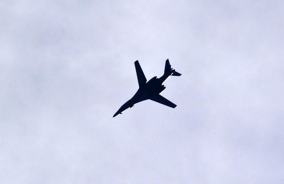 A military plane of the US-led coalition circled above the Turkey-Syria border Saturday.