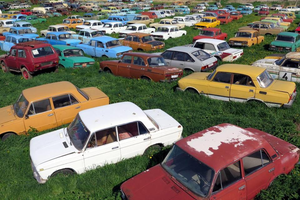 A field full of Soviet-era automobiles in Mikhail Krasinets's self-described museum in the countryside south of Moscow.