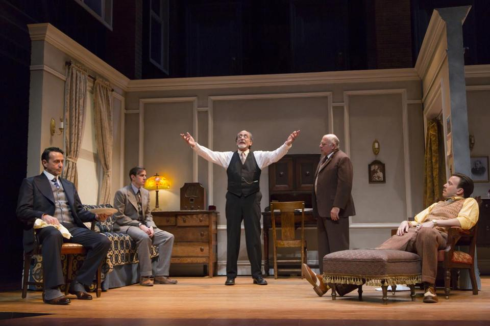 "Stephen Schnetzer, Michael Goldsmith, Will LeBow, David Wohl, and Eric T. Miller in Huntington Theatre Company's production of Clifford Odets's ""Awake and Sing!"""