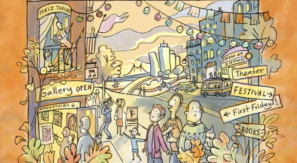 Stylized illustration of a busy Boston street, with signs indicating