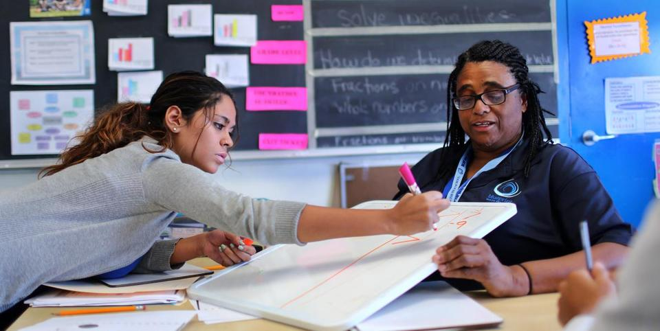 Outside partners fail to lift many schools the boston globe judith gueye right a blueprint math fellow tutored jelissa burgos at english malvernweather Choice Image