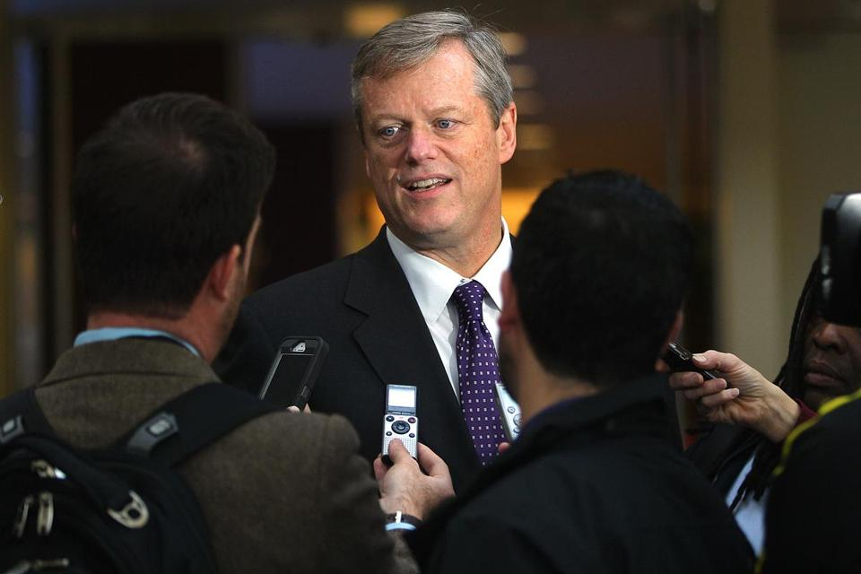 The visit gives Charlie Baker a chance to show gratitude to the Republican Governors Association.